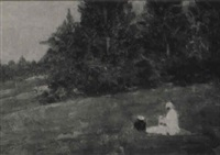 two figures seated on a wooded hillside by felice castegnaro