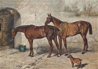 australia, barney and doctor in a stableyard by john emms