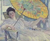 woman with parasol by frederick carl frieseke