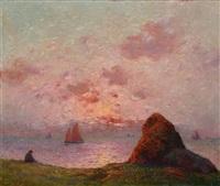 retour des voiliers au soleil couchant by ferdinand puigaudeau