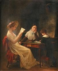 jeune garçon écrivant près de sa mère en train de lire by marguerite gérard