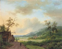 travellers on a riverside track at dusk by marinus adrianus koekkoek the elder