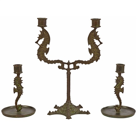 Seahorse Table Garniture: Two Light Candelabrum And Candlesticks, Pair By  E.t. Hurley