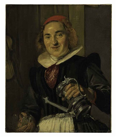 young woman holding a glass and a flagon by frans hals the elder