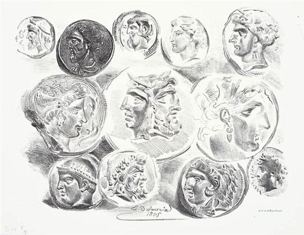 feuille de douze médailles antiques by eugène delacroix