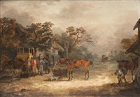 sportsman outside an inn; the kill; tired hunter, (3 works) by dean wolstenholme the elder