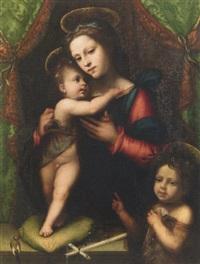 madonna, bimbo, e san giovannino by mariotto albertinelli
