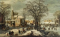winterlandschaft mit kirche by philips de momper the younger