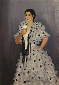portrait de jeune femme à la robe andalouse et à la rose blanche by alfonso grosso y sánchez