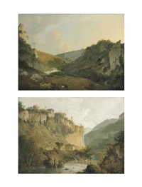a view of dovedale, derbyshire; a view of the convent of san cosimato and part of the claudian aqueduct near vicovaro in the roman campagna (pair) by joseph wright (of derby)