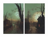 A moonlit street with a peasant carrying...