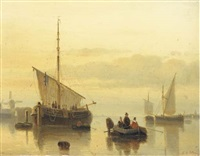 a calm: shipping in an estuary at dusk by cornelis petrus t' hoen