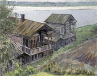 wooden houses on the volga by anatoliy fedorovich andronov