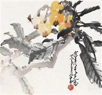 枇杷蜜蜂 镜片 设色纸本 ( in antumn) by zhao shaoang