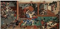 sato tadanobu attacked by utagawa yoshikazu
