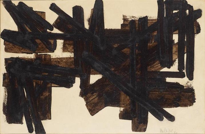 brou de noix sur papier 325 x 50 cm 1950 by pierre soulages