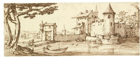 a view of a fortified city by a river a man fishing from a boat in the foreground by jacques callot