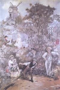 paysage allégorique de montmartre by louis morin