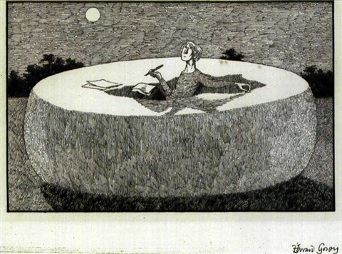 woman writer inside giant cheese wheel by edward gorey