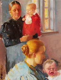 two young mothers with their small children. study for vaccination by anna kirstine ancher