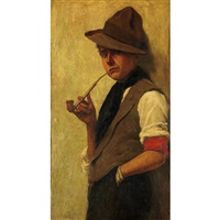 boy smoking a pipe by philip lodewijk jacob frederik sadée