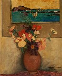 vase fleuri sur fond de tableau by juliette cambier