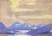 two landscapes: each titled naccar (2 works) by svetoslav nikolaevich roerich