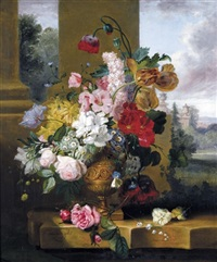 still life with tulips, roses and lily of the valley with a cabbage-white butterfly in an urn on a marble ledge by john wainwright