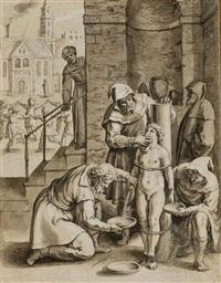 enfant torturé, attaché à un pilier (+ enfant torturé par une assemblée d'hommes; 2 works) by johann mathias kager