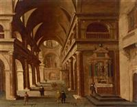 inneres einer barocken kirche mit figuren by hans jurriaensz van baden
