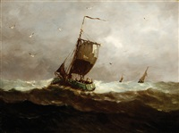 fishing boats on choppy water (+ another, similar; 2 works) by johannes jacobus antonius hilverdink