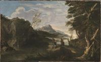 paesaggio fluviale con figure by italian school-roman (17)