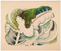 coliflor (+ fresa, color lithograph; 2 works) by olga dondé