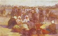 markt am flußufer by wladimir pavlowitsch andrejewskij