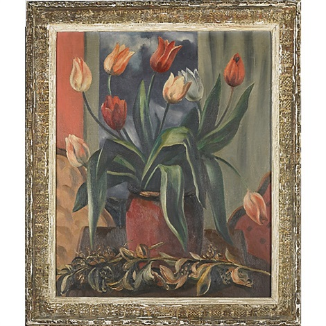 tulips in red jar by bror julius olsson nordfeldt