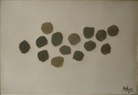 composition abstraite aux 14 pois gris by alonso alonso