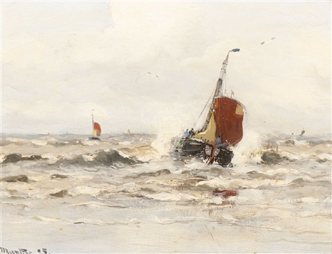 fishing boats from katwijk at sea by gerhard arij ludwig morgenstjerne munthe