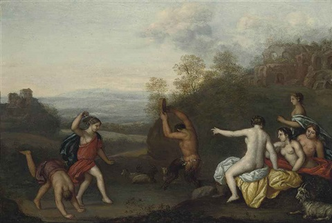 nymphs and a satyr dancing in a landscape ruins beyond by cornelis van poelenburgh