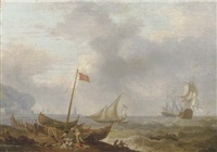 a mediterranean coastal scene with sailing boats and fishermen on the beach, two three-masters in rough waters and a harbour beyond by olivier lemay