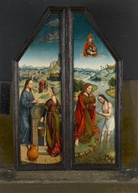the baptism of christ (+ christ and the woman of samaria; diptych) by aelbrecht bouts