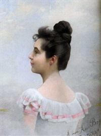 jeune femme de profil by oreste cortazzo