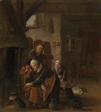 bäuerliches interieur mit vier personen by cornelis beelt