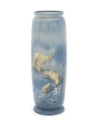 beyond man's footsteps' a fine titanium ware vase by harry allen
