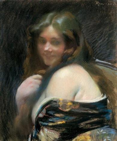 femme à lépaule dénudée by albert besnard