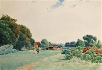 rural scene (possibly guildford) by james walter robert linton