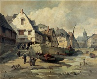 village de pêcheurs en normandie by jules-g. bahieu