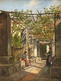 arbetande kvinnor i solbelyst trädgård med pergola och vinrankor by august fischer