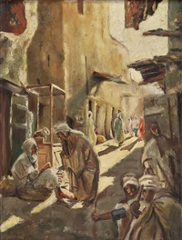 straßenszene in marokko by giuseppe amisani