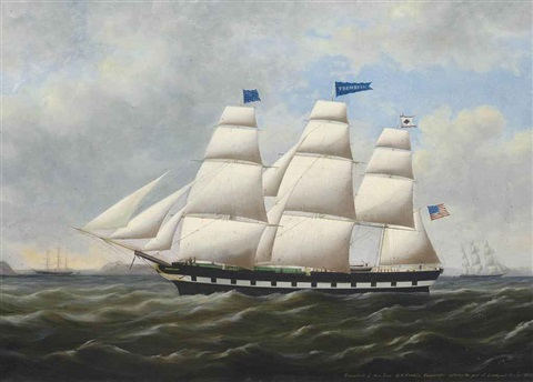 the american merchantman trumbull of new york entering the port of liverpool 20th december 1859 by duncan mcfarlane
