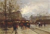 a parisian street at dusk by eugène galien-laloue